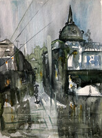 Rain in the City, 12.5 x 9.5 inches sold