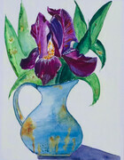 Iris and Vase, 12.5 x 9.5 inches